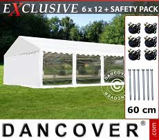 Tendoni Gazebi Party Exclusive 6x12m PVC, Bianco, Panorama