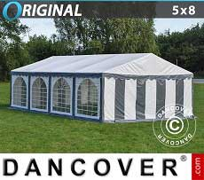 Tendoni Gazebi Party Original 5x8m PVC, Grigio/Bianco