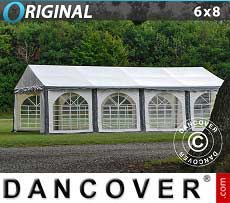 Tendoni Gazebi Party Original 6x8m PVC, Grigio/Bianco