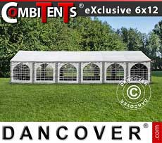 Tendoni Gazebi Party, Exclusive CombiTents® 6x12m, 4 in 1, Grigio/Bianco