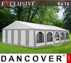 Tendoni Gazebi Party Exclusive 5x12m PVC, Grigio/Bianco