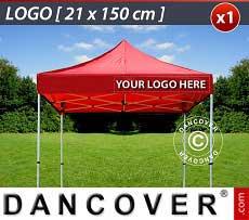 1 Stampa logo 21x150cm sulla frangia del FleXtents, allineata a destra