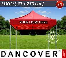 1 Stampa logo 21x250cm sulla frangia del FleXtents, centrata