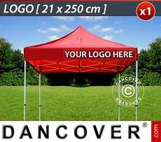 1 Stampa logo 21x250cm sulla frangia del FleXtents, allineata a destra