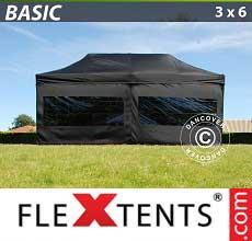 Tenda per racing Basic 300, 3x6m Nero, inclusi 6 fianchi