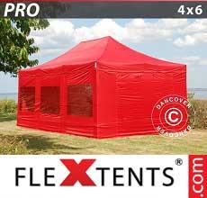 Tenda per racing PRO 4x6m Rosso, inclusi 8 fianchi