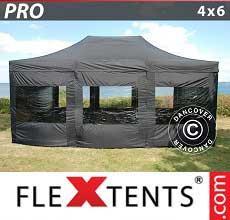 Tenda per racing PRO 4x6m Nero, incl. 8 fianchi