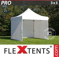 Tenda per racing PRO 3x3m Bianco, inclusi 4 fianchi