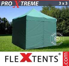 Tenda per racing Xtreme 3x3m Verde, inclusi 4 fianchi