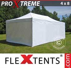 Gazebo pieghevole  Xtreme 4x8m Bianco, inclusi 6 fianchi