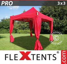 Gazebo pieghevole  PRO 3x3m Rosso, incl. 4 tendaggi decorativi