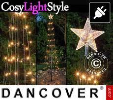 Albero di luci LED con stella, 2,4m, multifunzione, luce bianca calda