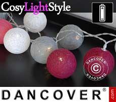 Catena di Luci con Sfere di Cotone, Capricorn, 30 lampadine a LED, Misto rosa