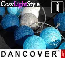 Catena di Luci con Sfere di Cotone, Aquarius, 30 lampadine a LED, Misto blu