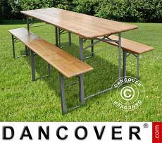 Set Tavolo e panca, Legno chiaro, gambe in acciaio pieghevoli, 240cm