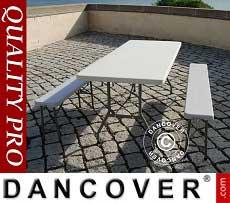 Pacchetto Party 1 tavolo pieghevole (242 cm) + 2 panchine pieghevoli (242 cm)