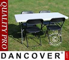 Pacchetto Party, 1 tavolo pieghevole (150 cm) + 4 sedie, Grigio chiaro/Nero