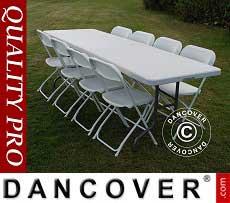 Pacchetto Party, 1 tavolo pieghevole (242cm) + 8 sedie, Grigio chiaro/Bianco