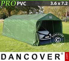 Tenda garage PRO 3,6x7,2x2,68m PVC con pavimento, Verde / Grigio