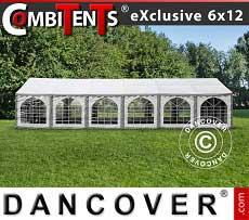 Tendone per feste, Exclusive CombiTents® 6x12m, 4 in 1, Grigio/Bianco