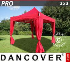 Gazebo pieghevole FleXtents PRO 3x3m Rosso, incl. 4 tendaggi decorativi