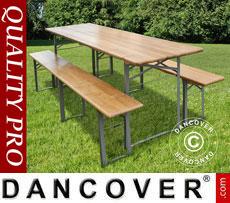 Set Tavolo e Panca, 220x60x76cm, Legno chiaro