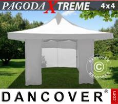 FleXtents Gazebi per Feste Pagoda Xtreme 4x4m / (5x5m) Bianco, inclusi 4...