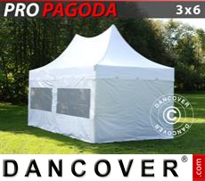FleXtents Gazebi per Feste PRO Peak Pagoda 3x6m Bianco, incluso 6 pareti...