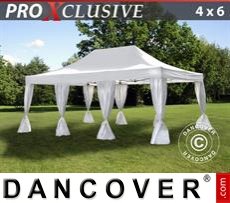 FleXtents Gazebi per Feste PRO 4x6m Bianco, incl. 8 tendaggi decorativi