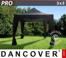 FleXtents Gazebi per Feste PRO 3x3m Nero, incl. 4 tendaggi decorativi