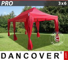 FleXtents Gazebi per Feste PRO 3x6m Rosso, incl. 6 tendaggi decorativi
