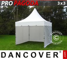 FleXtents Gazebi per Feste PRO Peak Pagoda 3x3m Bianco, incluso 4 pareti...