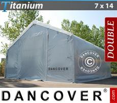 Capannone tenda Titanium 7x14x2,5x4,2m, Bianco / Grigio