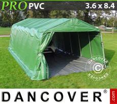 Capannone tenda PRO 3,6x8,4x2,68m PVC, con pavimento, Verde/Grigio