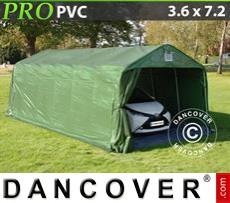 Capannone tenda PRO 3,6x7,2x2,68m PVC, con pavimento, Verde/Grigio