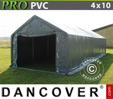 Capannone tenda PRO 4x10x2x3,1m, PVC, Grigio