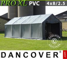 Capannone tenda PRO 4x8x2,5x3,6m, PVC, Grigio
