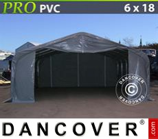 Capannone tenda PRO 6x18x3,7m PVC, Grigio