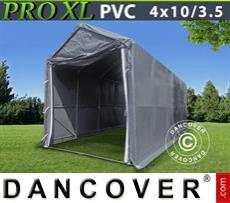 Capannone tenda PRO 4x10x3,5x4,59m, PVC, Grigio