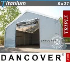 Capannone tenda Titanium 8x27x3x5m, Bianco / Grigio