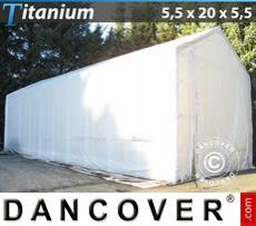 Capannone tenda Titanium 5,5x20x4x5,5m, Bianco