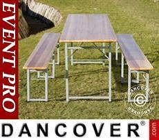 Set Tavolo e Panche, 240x60x76cm, Legno chiaro