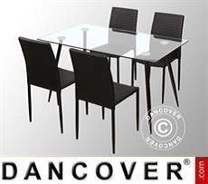 Set da pranzo con 1 tavolo da pranzo Bologna, Trasparente/Nero + 4 sedie da…