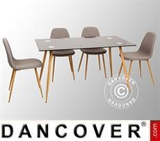 Set da pranzo con 1 tavolo da pranzo Torino, Nero/Rovere + 4 sedie da pranzo…