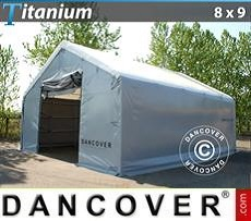 Capannone tenda di deposito Titanium 8x9x3x5m, Bianco / Grigio