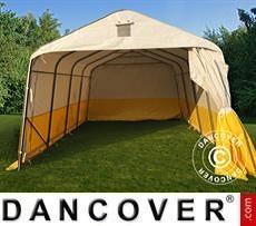 Tenda da lavoro/magazzino PRO 3,6x4,8x2,7m, PVC, Bianco/Giallo, Ritardante