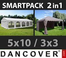 SmartPack Soluzione 2-in-1: Tendone per feste Original 5x10m, Bianco/Gazebo…