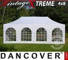 FleXtents Gazebi per Feste  Xtreme Vintage Style 4x8m Bianco, inclusi 6 fianchi
