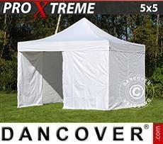 FleXtents Gazebi per Feste Xtreme 5x5m Bianco, inclusi 4 fianchi