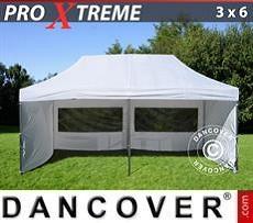 FleXtents Gazebi per Feste Xtreme 3x6m Bianco, inclusi 6 fianchi
